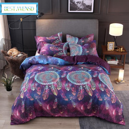 $enCountryForm.capitalKeyWord NZ - BEST.WENSD Purple Wind chime duvet cover +pillowcase Boho Feathers Bedclothes 2-3pcs Bed Set Super Soft Bohemian Home Textiles