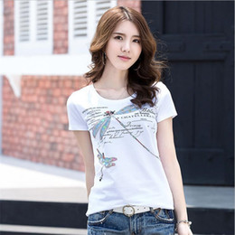 dragonfly clothing 2019 - Keqi Newest Hand Beading T Shirt Women Tops Fashion Sequined Hot Fix Rhinestone 4 Dragonfly Cotton T-shirt Lady Clothes