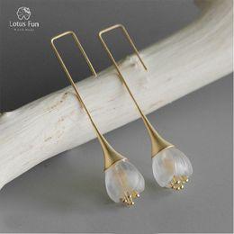 $enCountryForm.capitalKeyWord Australia - Lotus Fun 925 Sterling Silver Earrings for Women Natural Crystal Flower Design Dangle Drop Earring Wedding Engagement Jewelry