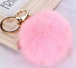 $enCountryForm.capitalKeyWord Australia - Real Rabbit Fur Ball Keychain Soft Fur Ball Lovely Gold Metal Key Chains Ball Pom Poms Plush Keychain Car Keyring Bag Earrings Accessories