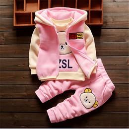 Winter Baby Fleece Suit Australia - Bibicola Baby Clothing Sets Children Cartoon Bear Winter Cotton Fleece Wool Suit Warm Thicken 3 Pcs Set Baby Boys Girls Set Y190518
