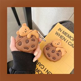 earphone bear Australia - For AirPods Pro Case Cute 3D Cartoon Cookie Bear Earphone Case For AirPods 3 2 1 Wireless Bluetooth Headset Soft Cover with Keychain