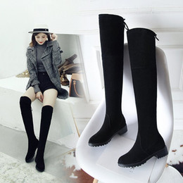 Woman Shoes Boots Australia - Sexy2019 And Pattern Thin With Cylinder Shoe Circle Head Pop Elastic Force Cloth Woman Boots Foreign Trade