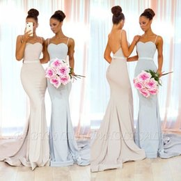 China Ivory Mermaid Bridesmaid Dresses 2019 Sexy Spaghetti Straps Open Back Sweep Train Maid of Honor Arabic Wedding Guest Evening Prom Gowns cheap elastic satin ivory wedding dresses suppliers