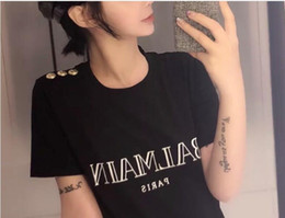 Wholesale womens t shirts online – design Letter Printed T shirt T Shirt Paris t Womens Mens casual Male New Hip GF balmain