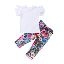Girls Butterfly Shirt UK - Details about Summer Kids Baby Girl Clothes Ruffle Tops T-Shirt Flower Pants Outfits With Bow