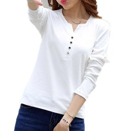 $enCountryForm.capitalKeyWord Australia - 2019 Autumn Winter Fashion T Shirt Women Long Sleeve V-neck Cotton T-shirt Plus Size Xxxl 4xl Tee Shirt Big Size Tops Camisetas S19715