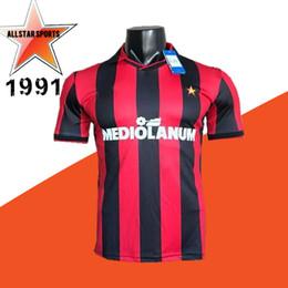 efb89ddcf55 91 92 AMiln Retro van Basten Gullit Maldini Soccer Jersey 1991 1992 Italia  Baresi Vintage classical Football Shirts