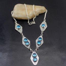 London pendants online shopping - Multi Gems Vintage London Blue Topaz925 Sterling Silver Women Jewelry Pendant Necklace Inch TF793