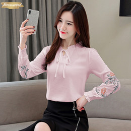 long sleeve ruffle blouses Australia - Blouses Plus Size Women Tops Floral Embroidery Shirt Ruffled Fashion Womens Tops And 2019 Long Sleeve Women Shirt 1645 50
