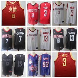 98ecb09e63ae Men Houston Jersey Rockets Chris 3 Paul James 13 Harden Carmelo 7 Anthony  Hakeem 34 Olajuwon Jerseys Embroidery Logos