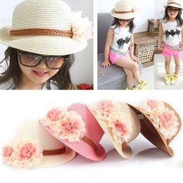 Fashion Girls Straw Hats Summer Baby Sun Hat Wide Brim Trilby Straw Cap Sun  Hat Beach Lovely Kids Children Solid Floral 7a6bad5159bd