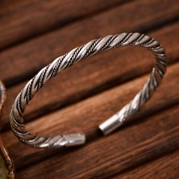925 silver bracelet 5mm NZ - Wholesale Retro Jewelry 925 Sterling Silver Handmade Silver Rope 5mm Cuff Bracelet for Women Girl Gift