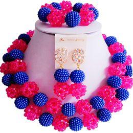 $enCountryForm.capitalKeyWord Australia - Elegant Royal Blue Fuchsia Pink Crystal Classic Nigerian Wedding Women Jewelry Sets 2C-ZZSJ-22