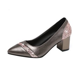 blocked heels shoes Australia - Glitter Sequins Women Pumps Beige Block Heel Shoes Pointed Toe Shallow Wedding Heels Office Shoes Woman Elegant New Leather Shoes Heels