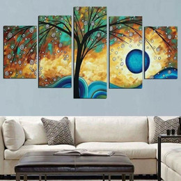 Discount diamond painting tree - Modern Abstract diamond painting on Canvas 5pcs Money Tree diamond embroidery wall Art Picture cross stitch Painting for