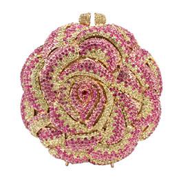 Evening Purses Flowers Australia - Dgrain Rose Flower Shaped Crystal Clutch Free Shipping Diamond Colorful Handmade Evening Bags Purse Handbag Metal Clutches Purses