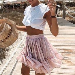 d2d007ae7 Tassels skirT online shopping - Simplee Casual polka dot mini women skirt  High waist A line