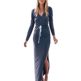 e35d841db74 Women Party Autumn Solid Long Sleeve Casual Sexy Slim Fit Deep V Drawstring  Solid Color Split Maxi Dress Vestidos Verano 2019