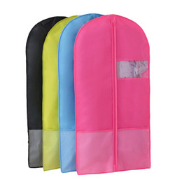 $enCountryForm.capitalKeyWord Australia - Wholesale Multi-color Home Zippered polyester fabric Garment Bag Clothes Suits Dustproof Cover with mesh pocket