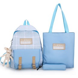 blue canvas tote bag Canada - 3pcs Set Letter Printing Canvas Backpack Pencil Bag For Teenage Girls Student Composite Rucksack Women Totes Purse Mochilas Blue