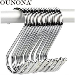 wholesale coat hooks stainless steel Canada - OUNONA 10pcs S Shaped Hooks Anti-rust Stainless Steel Hangers Hooks Kitchen Hanging Hanger Towel Coat Utensils