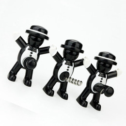 small bottle wine NZ - Originality Metal Red Wine Bottle Stopper Small People Shape Beer Opener Black Gentleman Seal Up Tool Red Wine Opener ZZA1203
