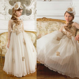 $enCountryForm.capitalKeyWord Australia - Gold Lace Applique Sheer Long Sleeves Flower Girls' Dresses for Weddings 2020 Hot Sale A Line Princess Pageant Gowns Party