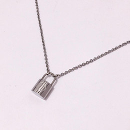 $enCountryForm.capitalKeyWord Australia - Brand Silver Color Lock Pendant Necklace for women men New Stainless Steel Cable Chain love V Necklace Friendship Gifts