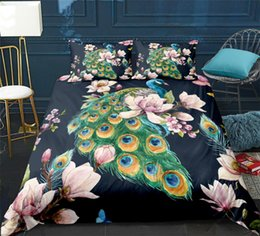 peacock print bedding Australia - Peacock pattern Duvet Cover set With Pillowcase Ancient Flowers print Bedding Set Adults Ultra Soft Quilt Cover Bedclothes 3pcs