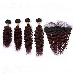 Wine Red Hair Color Indian Australia - Ombre Burgundy Deep Wave Indian Virgin Hair Weaves with 13x4 Frontal Closure #1B 99J Wine Red Ombre Deep Wavy 4Bundles with Lace Frontal