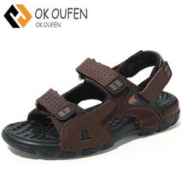 Z.suo Genuine Leather Summer Mens Sandals Hoop Loop Massage Beach Men s  Sandals Outdoor Men Sandles Man Footwear Black Brown 256f62e26fa8