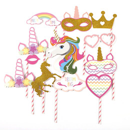 $enCountryForm.capitalKeyWord Australia - Kids party decorations unicorn photo booth props Birthday party Hawaii party decoration flamingo paper photo props