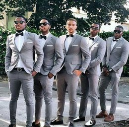mens wedding suits designs NZ - Lastest Coat Pants Design Grey Groom Tuxedos Mens Wedding Suits Blazers Costum Made Homme Mariage Slim Fit Terno Masculino