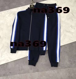 running decorations UK - 2019 men luxury designer tracksuit~hit color ribbon decoration Striped Patchwork tracksuits sportswear track ~jogging sweat training suits