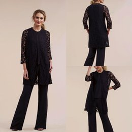 $enCountryForm.capitalKeyWord Australia - 2019 Black Three Pieces Mother of the Bride Pant Suits Plus with Lace Jacket Plus Size Long Sleeve Formal Evening Gowns Prom Dresses