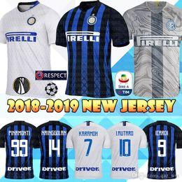 70401565d 18 19 Inter Milan Soccer Jersey 9 ICARDI 10 LAUTARO 99 PINAMONTI PERISIC  Top sale 2019 Home Blue Men football shirt
