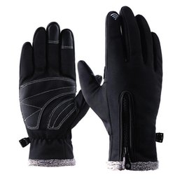 windproof waterproof touch screen gloves UK - Outdoor Waterproof Windproof Gloves Anti Slip Touch Screen Gloves Zippers Winter Fleece Warm Cycling Climbing Skiing