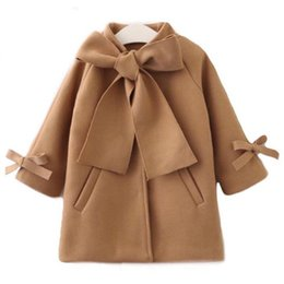 Stock Clothes Winter Australia - Emmababy Stock Kid Baby Girl Winter Warm Wool Bow Coat Overcoat Outwear Jacket Clothes