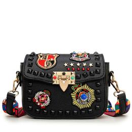 $enCountryForm.capitalKeyWord UK - Fashion Color Rivet Design Women Pu Leather Bags Embroidery Metal Stars Shoulder Bags Ladies Color Shoulder Strap Crossbody