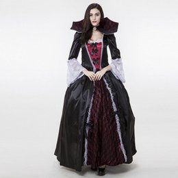 woman vampire halloween costumes Australia - Ladies Gothic Halloween Versailles Vampire Costume Dark Black Full Length Ball Gown Lace Dress With High Stand Collar For Women