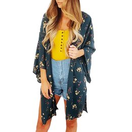 Fashion Womens Chiffon Kimono Cardigan Long Women Blouse Printing Tassels Sandy Beach Cardigan Womens Shirt Tops Blusas Mujer Women's Clothing