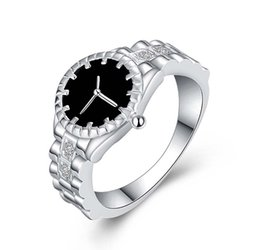 $enCountryForm.capitalKeyWord UK - Watch Ring for Men and Women Silver Plated Copper Watch Ring Inlaid Zircon Creative Watch Shaped Ring