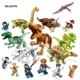 Wholesale 128pcs Jurassic work Park Building Block bricks Dinosaur pterosaur Indomirus T Rex Triceratops baby toys children gift educational model