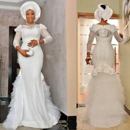 $enCountryForm.capitalKeyWord Australia - 2019 Vintage Nigerian lace african mermaid wedding dresses 3 4 long sleeves puffy ruffles soft tulle floor length wedding bridal gowns