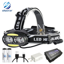 $enCountryForm.capitalKeyWord Australia - Super bright LED headlamp 4 x T6 + 2 x COB + 2 x Red LED 15000 lumens led headlight 7 lighting modes with batteries charger