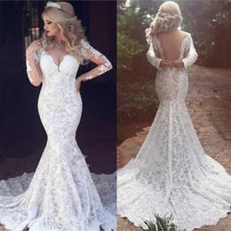 $enCountryForm.capitalKeyWord NZ - New Arabic Dubai Mermaid Wedding Dress Lace Appliques Sheer Backless Full Lace Wedding Gowns Illusion Long Sleeves Bridal Dress Custom Made