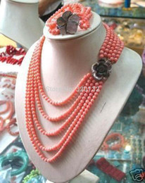 coral anniversary gifts Australia - Natural Bead Beautiful gift Natural 6-7mm PINK CORAL BEAD NECKLACE BRACELET SET Optional Set Silver Hook wholesale necklace