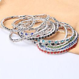 Czech Crystal Sets Australia - Colorful One Row Rhinestones Charming New Fashion Elastic Bracelet For Women Crystal Shining Bangle Girls Wedding Gift