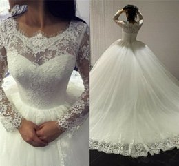 $enCountryForm.capitalKeyWord Australia - Scalloped Transparent Modest Winter Lace Long Sleeve Ball Gown Applique Princess Wedding Dress Bridal Tulle Romantic Custom Made Ruched 2019